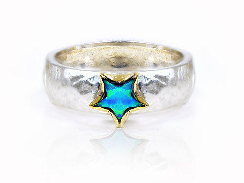 Israel design yellow gold and sterling silver star opal dress ring
