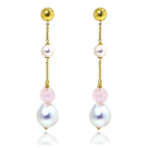 18ct yellow gold pearl rose quartz earrings