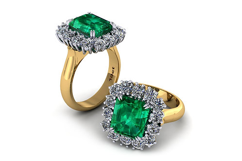 18ct Yellow gold emerald cut emerald with a halo of diamonds