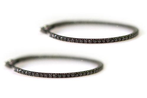 18ct Blk Rhodium Black Diamond Hoop Earrings