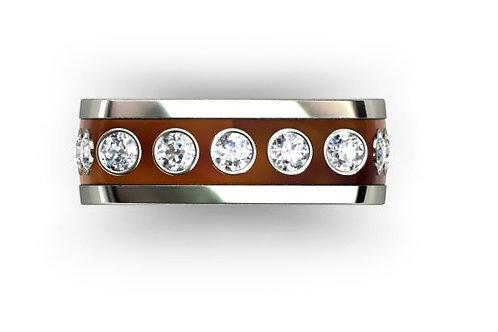 18ct White gold round brilliant bezel set gents ring