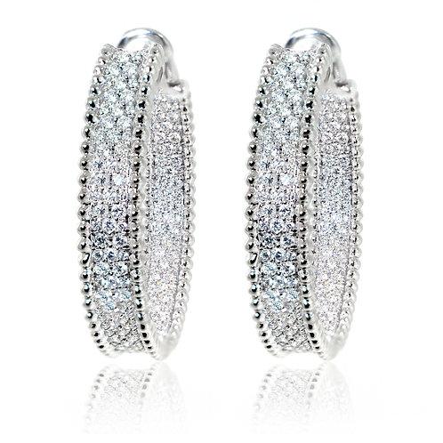 white gold diamond pave hoop earrings