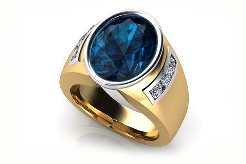 18ct Deep blue oval sapphire bezel set ring with diamonds