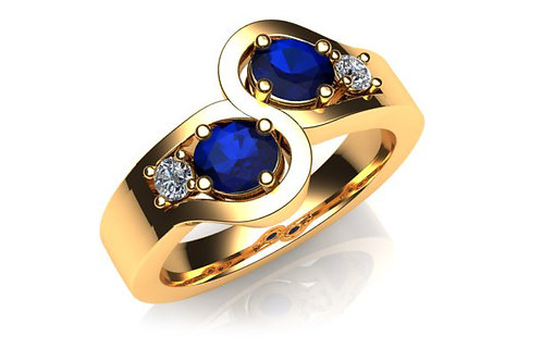 18ct Yellow gold blue round sapphires and diamonds mirror ring