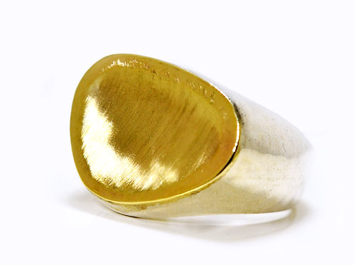 Israel design yellow gold and sterling silver dress ring
