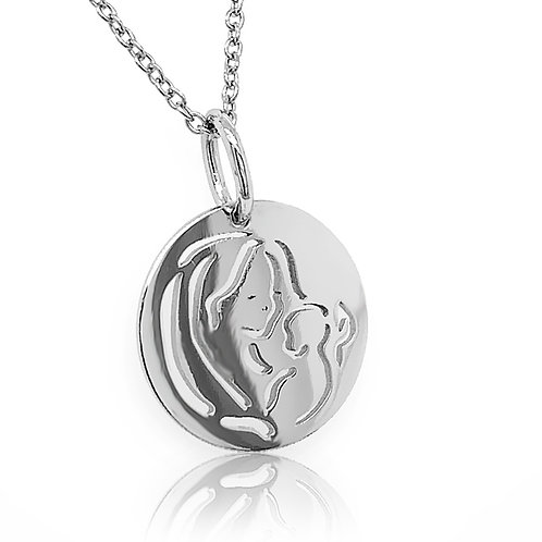 white gold mother and child pendant