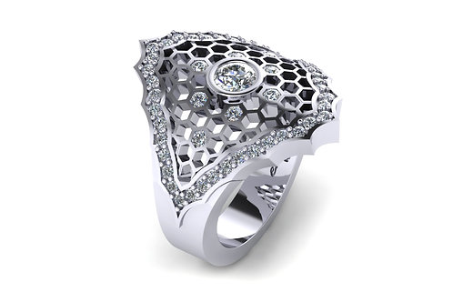 Diamond honeycomb ring