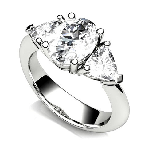 Oval Diamond Cut Engagement Ring with Trillion Cut Diamonds