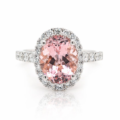 oval morganite ring with diamond halo