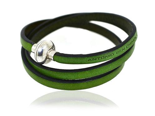 Gents green leather designer bracelet by Antonio Ben Chimol