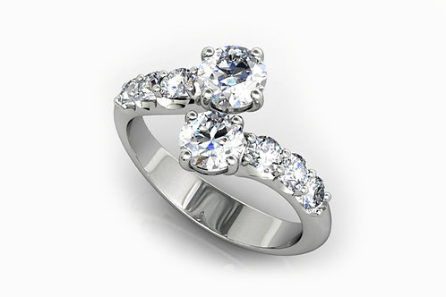 18ct White gold engagement ring with a mirror design and round brilliant diamond