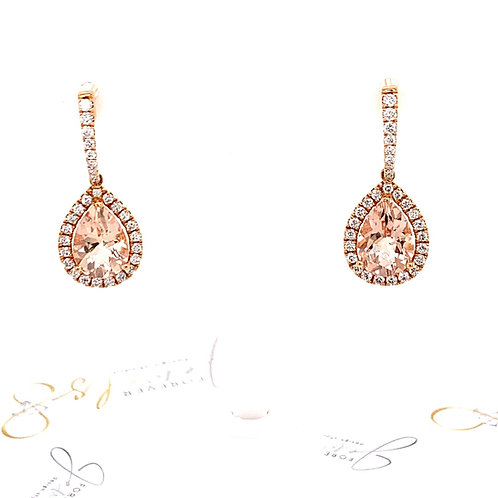 Morganite and diamond drop Earrrings