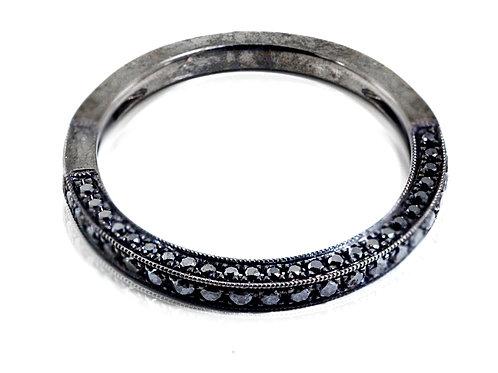 18ct gold in black rhodium wedding band with round black diamonds
