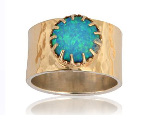 Israel designer sterling silver and 9ct gold opal dress ring