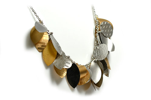 18ct Rose and White Gold Leaves Necklace