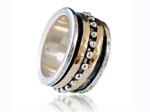 Israel designer ring with sterling silver and yellow gold
