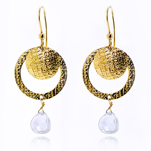 Israel designed earrings with 14ct Yellow gold and white Amethyst
