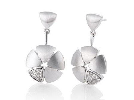 Breuning Ladies sterling silver diamond floral earrings