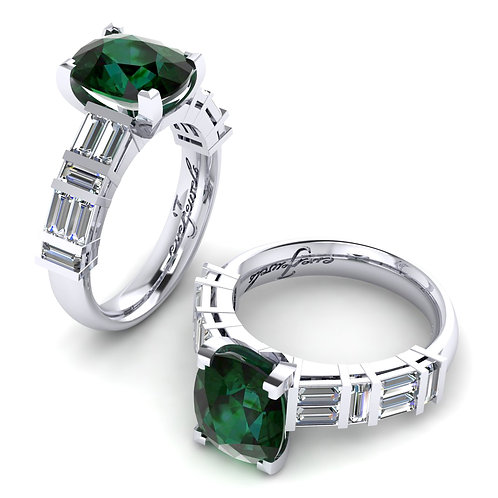 18ct White gold oval emerald ring with emerald cut diamonds