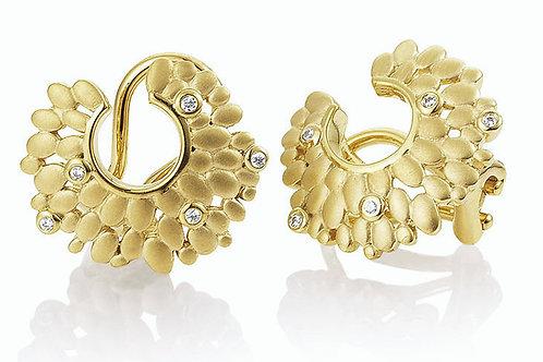 Breuning German designer 9ct yellow gold diamond earrings