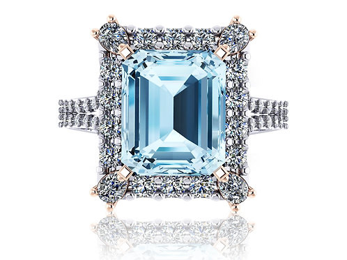 18ct White and rose gold emerald cut Aquamarine with halo of diamonds