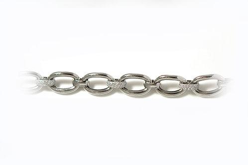 9ct white gold CZ chunky bracelet