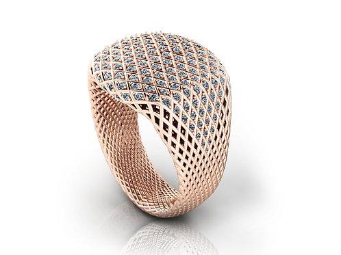 Rose Gold Diamond Signet ring
