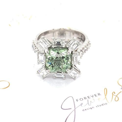 Mint Green Tourmaline Dress Ring With Baguette Diamonds