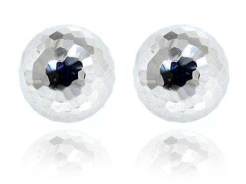 white gold round ball earrings