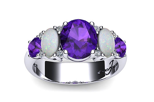 18ct white gold oval opals and purple sapphire ring claw set with diamonds