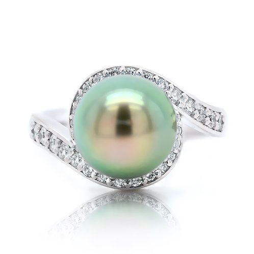 Tahitian Pearl Dress Ring with Diamonds in White Gold