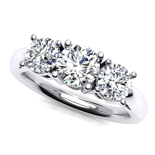 Three Round Brilliant Diamond Engagement Ring