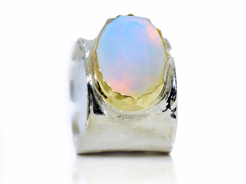 Israel design yellow gold and sterling silver opal dress ring