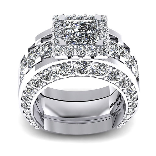 Princess Cut Diamond Halo Engagement Ring Set