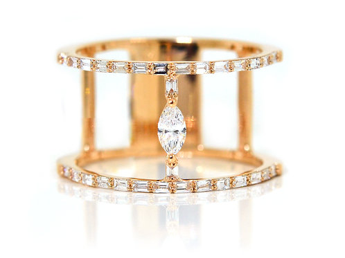 18ct Rose gold emerald cut and marquise diamond ring