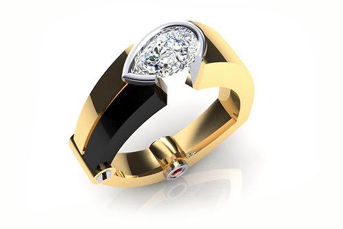 yellow gold black rhodium pear cut diamond
