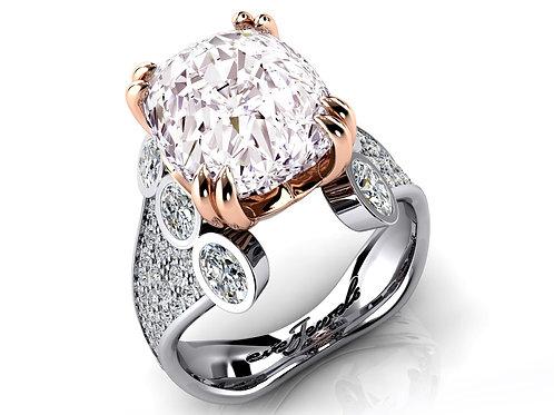 18ct White & rose gold cushion fancy cut morganite dress ring