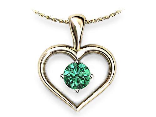 18ct Yellow gold heart pendant with green peridot