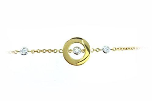 18ct Yellow Gold Circle Centre Diamond Bracelet