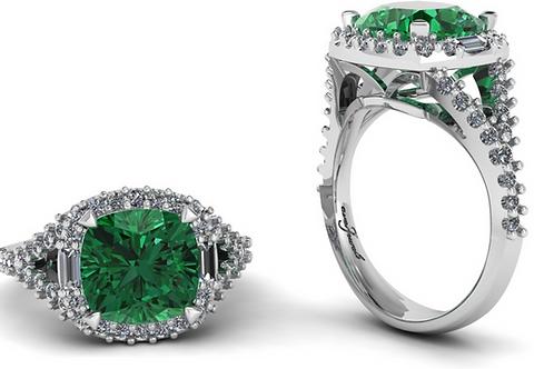 Green Tourmaline Cushion Cut with a Halo of Diamonds