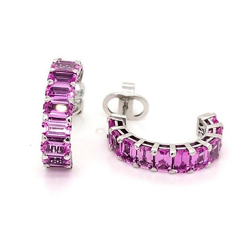 pink sapphire huggie hoop earrings