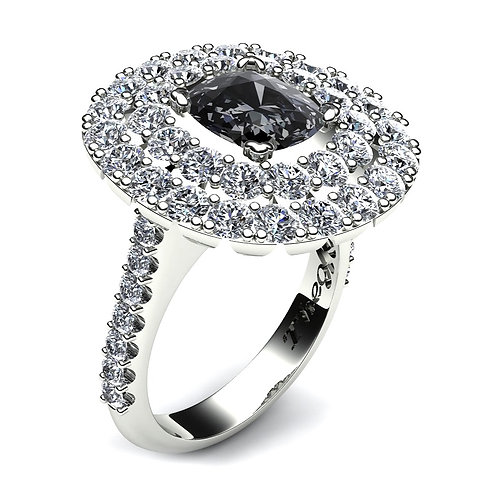 Cushion Cut Black Diamond Double Halo Engagement Ring