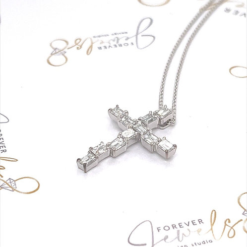 Designer  Emerald cut Diamond Cross