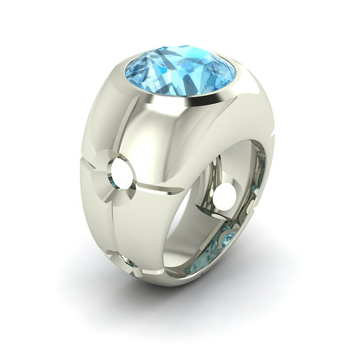 18ct White gold dress ring with a round bezel set aquamarine