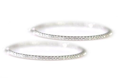 18ct White Gold Hoop Diamond Earrings