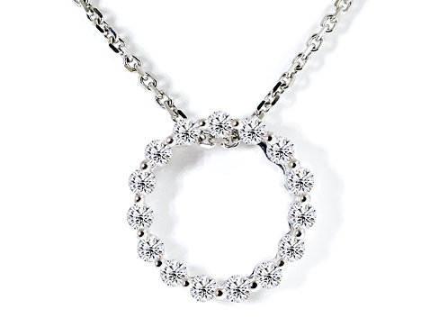 white gold circle diamond pendant