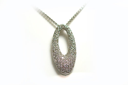 18ct WG Tear drop Diamond Paved Pendant