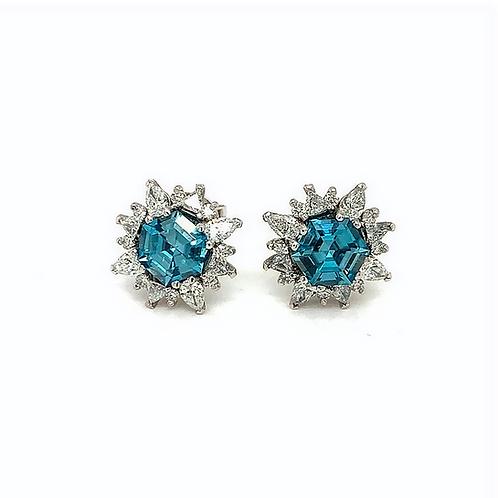 Blue Zircon Diamond Studs