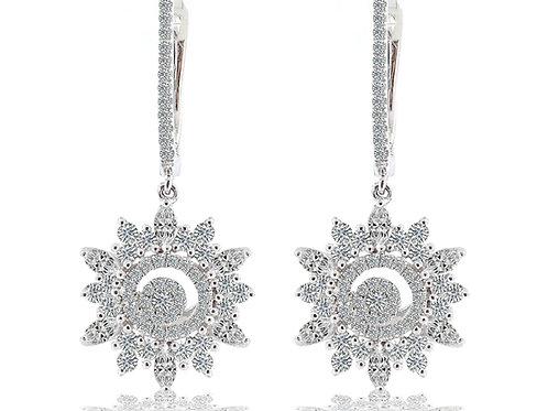 gold diamond snowflake drop earrings