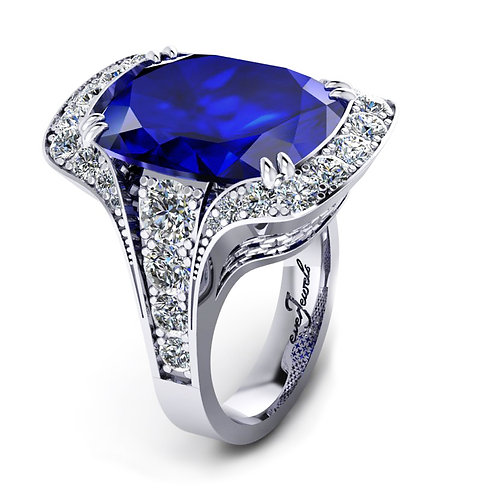 18ct White gold cushion cut 7ct Tanzanite dress ring